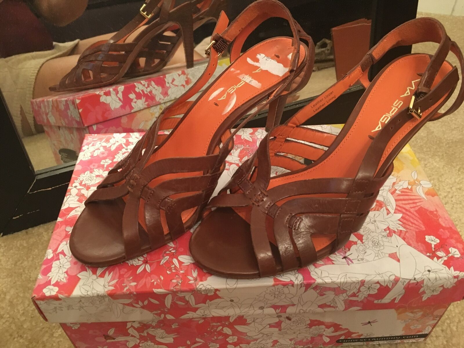 Via Spiga leather NEW NEW NEW womans ladies brown sandals size 7 mules shoes b110 000593