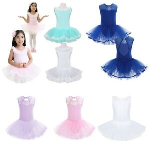 Girls-Ballet-Tutu-Dress-Dancewear-Ballerina-Costume-Kids-Leotard-Skate-Skirt