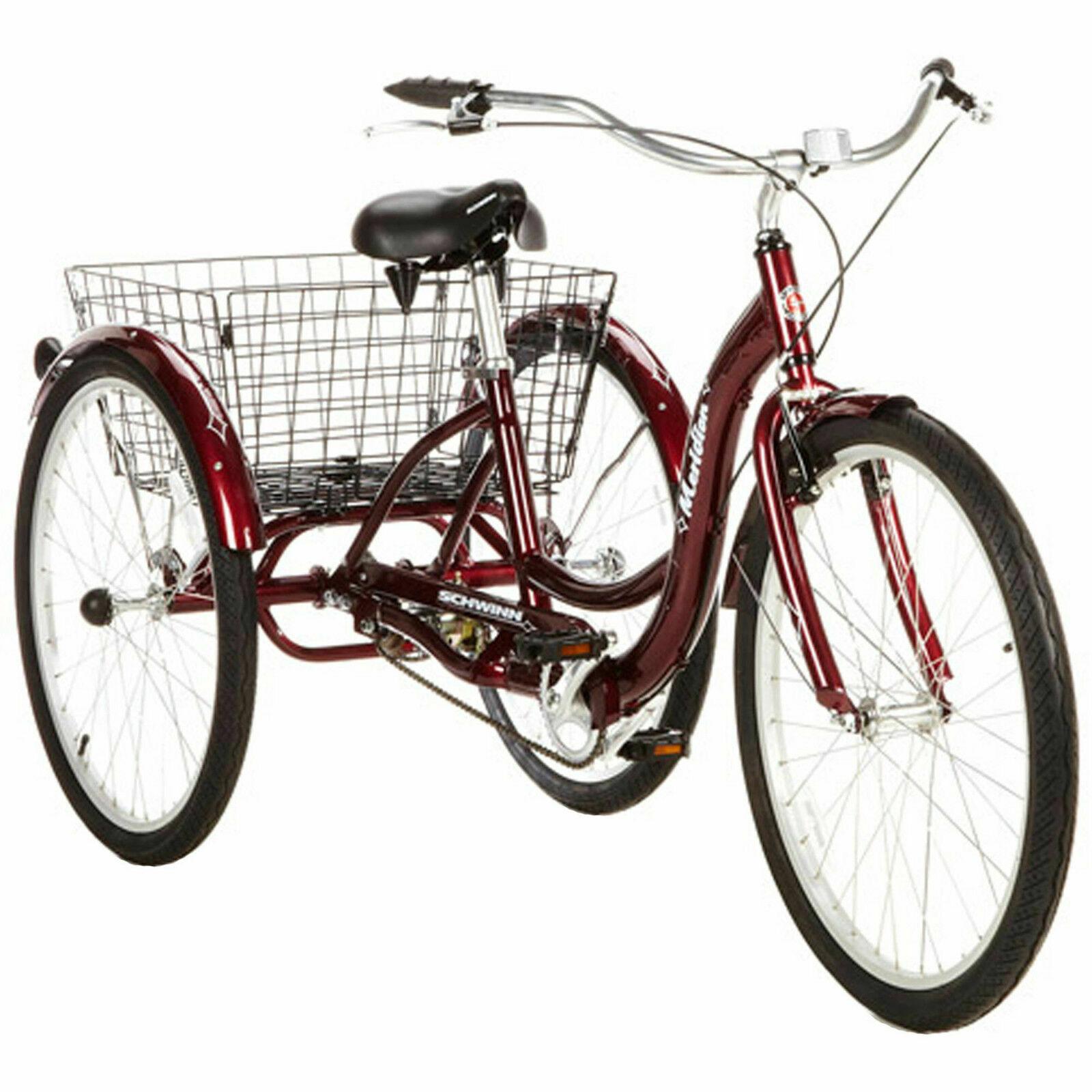 Adult Tricycle Bike 26  3 Wheel Bicycle Basket Beach Cruiser Trike Ride Red New