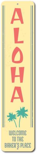 Custom Family Name Welcome Place ENSA1002242 Aloha Palm Trees Vertical Sign