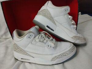 7e7c2c3e62c316 Nike Mens Air Jordan 3 Retro Pure White 136064-111 Size 8.5 VG Pre ...
