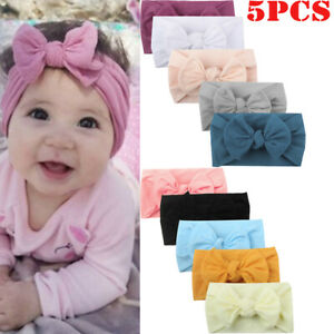 5PCS-Girls-Baby-Toddler-Turban-Solid-Headband-Hair-Band-Bow-Accessories-Headwear