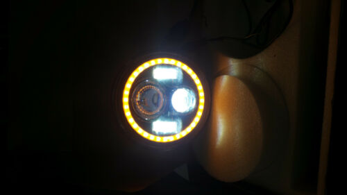Headlights Black Housing LED Halo Angle Eyes for Freightliner Coronado Custom