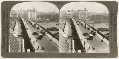 Keystone Stereoview London Bridge /& Horse Carts England Education Set #348 C
