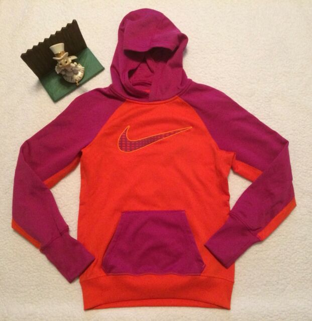 b7d095912207 Nike Therma Fit Womens Pullover Hoodie Size SMALL Orange Purple New Diplay