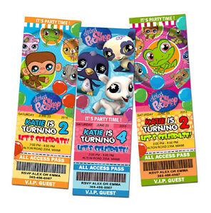 Littlest Pet Shop Birthday Party Invitation Ticket 1st C1 Custom