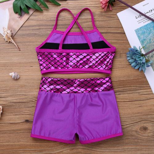Girls Sport Dance Outfit Shiny Ballet Gymnastics Leotards Dancewear Activewear