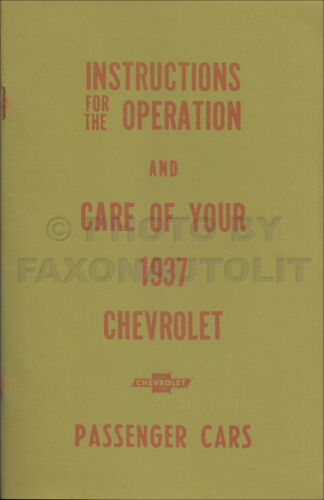 Motors Vehicle Parts & Accessories 1937 Chevrolet Owners Manual ...