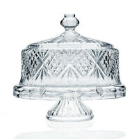 Godinger Dublin Footed Collection Crystal Cake / Candy Plate With Dome Cover