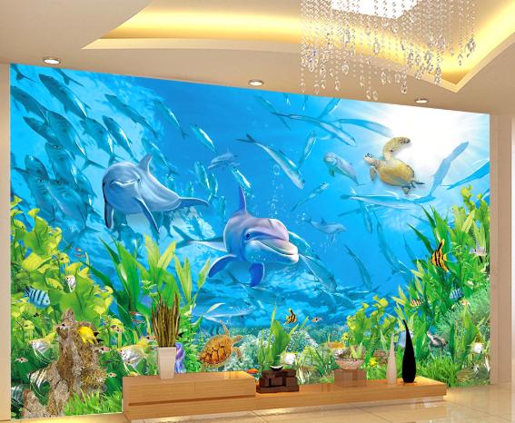 3D Bule Dolphin 43 Wallpaper Murals Wall Print Wallpaper Mural AJ WALL UK Sidney