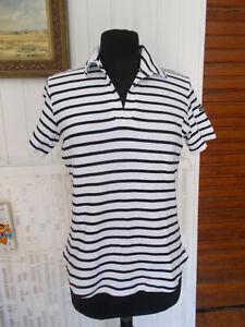 Tee-shirt-polo-mariniere-col-V-coton-epais-blanc-raye-bleu-ARMOR-LUX-T3-38-40