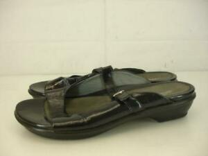 Womens-10-5-11-41-DANSKO-Colette-Crinkled-Black-Patent-Leather-Sandals-Mary-Jane