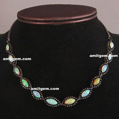 925 Sterling Silver Ethiopian Opal Gemstone Pendant Earring Jewelry Set Women/'s