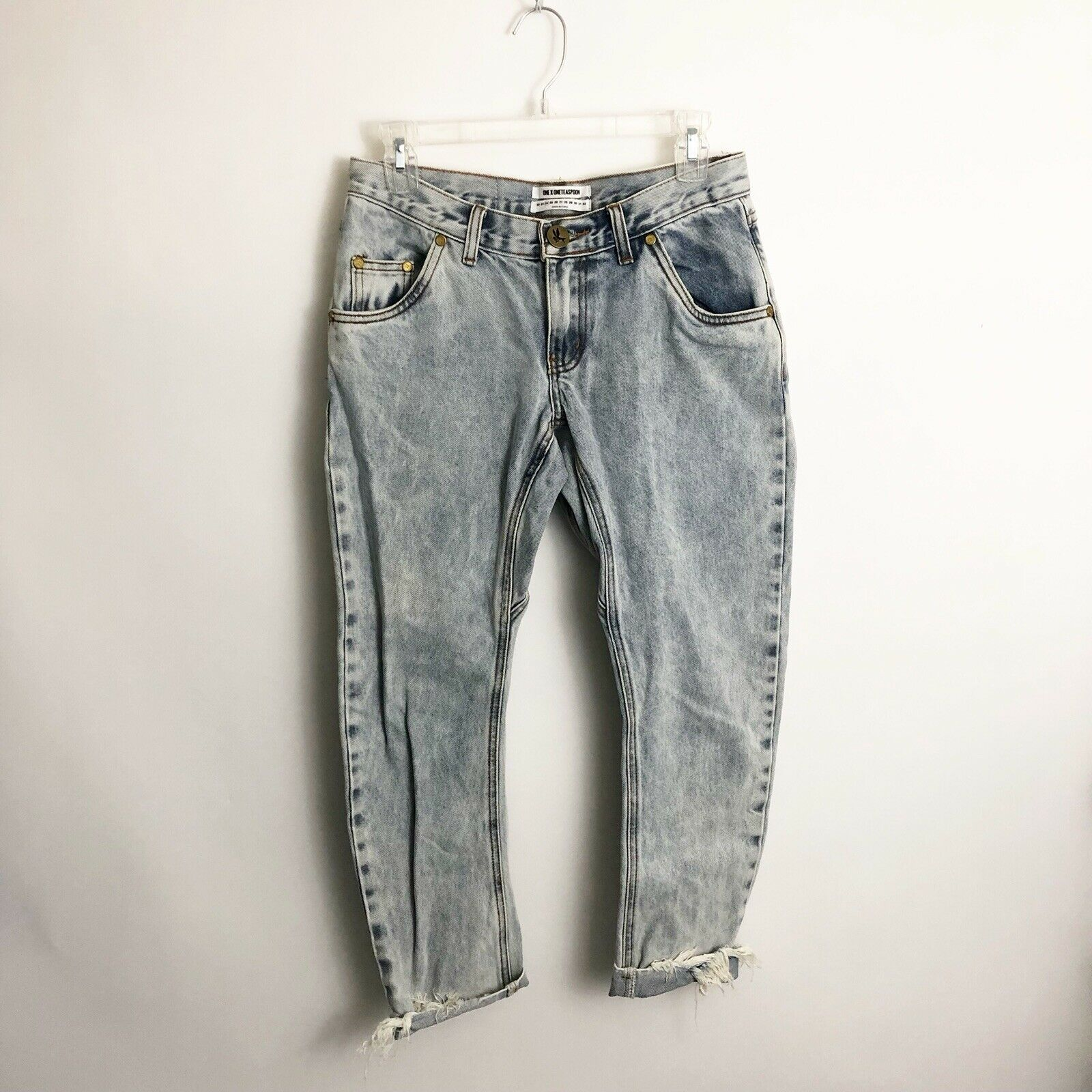 One Teaspoon Lonely Boys Jeans Sz 24 (2) Rigid Low Waist Relaxed Hip Drop Credch