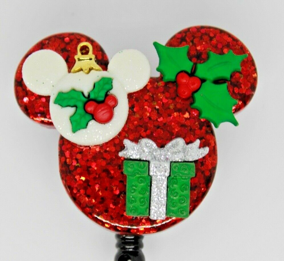 Christmas Mickey Ornament Holly Gift Present Badge Reel ID Holder Nurse Teacher
