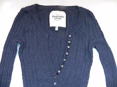 Abercrombie & Fitch~Navy Blue cable knit Sweater small buttons front sz Medium