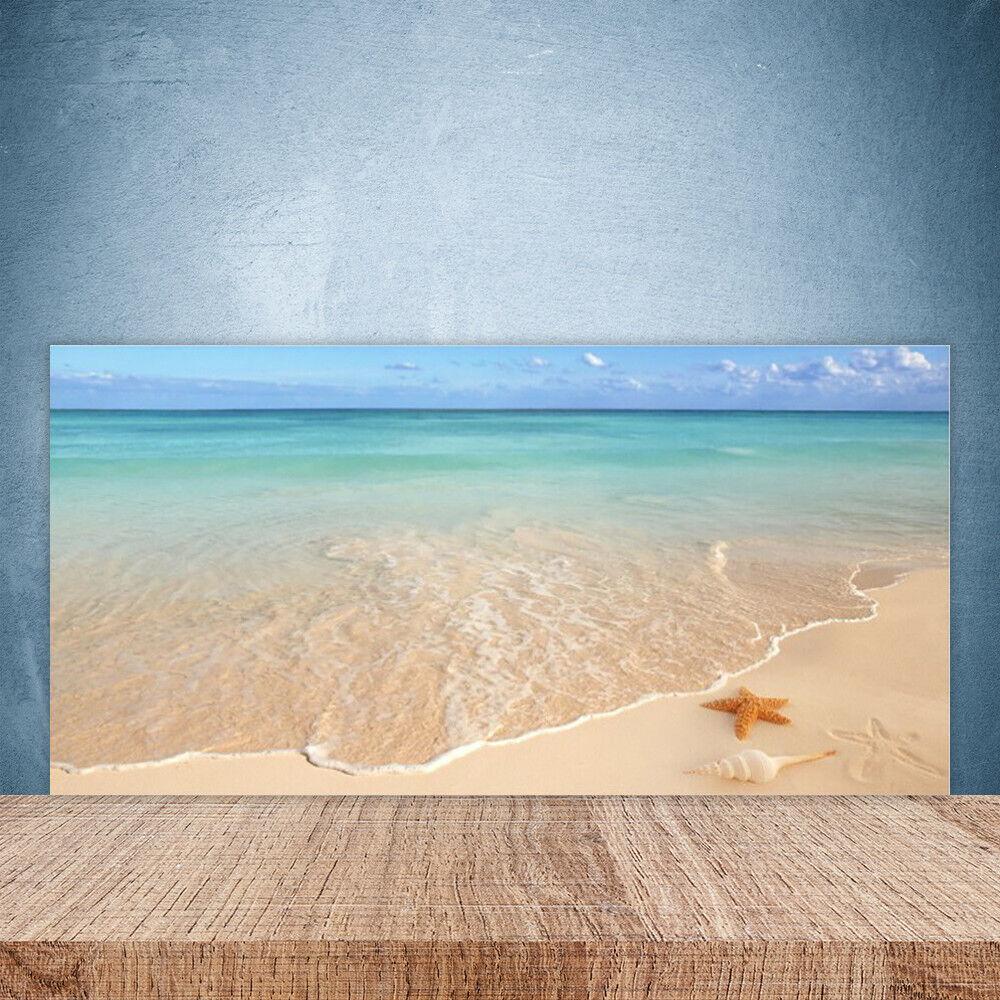 Vidrio Templado Cocina salpicaduras 100x50 Mar Playa Paisaje Estrella De Mar