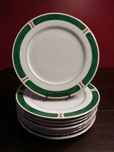 Set-Of-8-Majesty-Malachite-8420-Dinner-Plates-10-1-2-034-Green-Gold-Trim