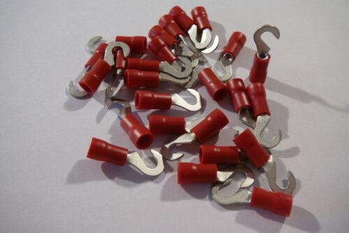 Paquete De 25 De Rojo 3,7 Mm Gancho terminal Crimp Connector de 3,5 mm Perno // Tornillo