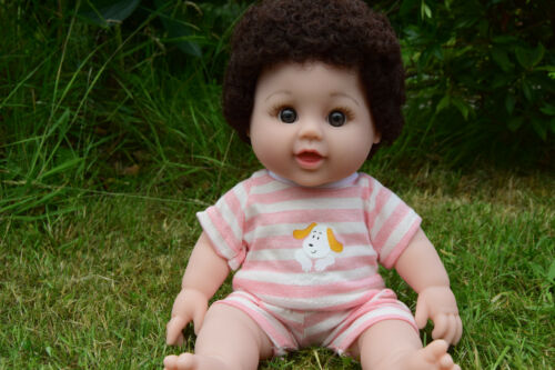 "12"" AFRO HAIR ENGLISH MANCUNIAN GEORGE INTERACTIVE BABY BOY DOLL 30CM"
