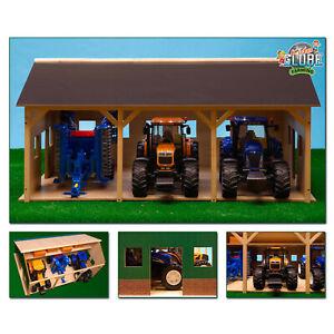 Spielzeug-Holz-Bauernhof-Schuppen-Garage-fuer-3-Traktoren-Traktor-78x55x38-cm