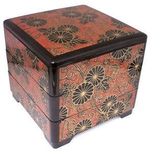 japanese lacquer stack lunch bento box 3 tiers kiku chrysanthemum made in japan ebay. Black Bedroom Furniture Sets. Home Design Ideas
