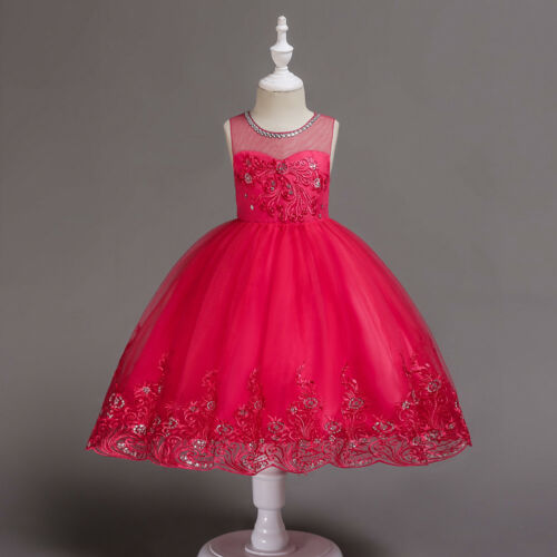 Flower Girl Dress Princess Embroidered Formal Bridesmaids Party Dress 2-10 ZG8
