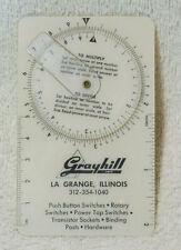 Vintage Grayhill Pocket Calculator Dial Indicator Multiplydivide Advertising