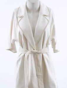 St-John-linen-beige-S-4-6-wool-blend-leather-trim-belt-blazer-jacket-NEW-1395
