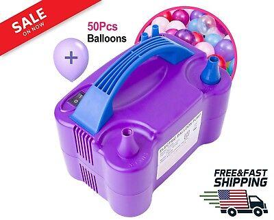 Purple Portable Dual Electric Balloon Pump Portable Latex Balloon Inflator Air