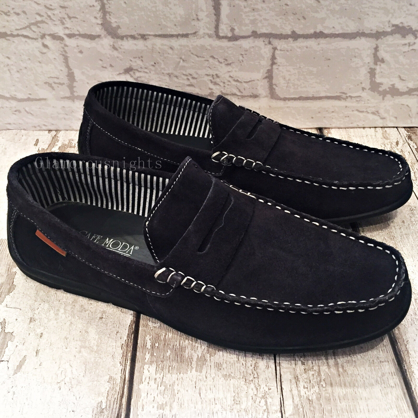 Mens Navy bluee 100% Suede Slip leather Slip On Loafer Casual Driving shoes Size