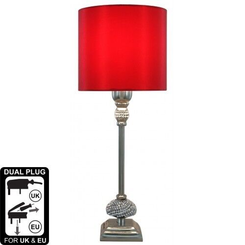 Nickel Diamante Candlestick Table Lamp With 7 Inch Red Faux Silk Drum Shade
