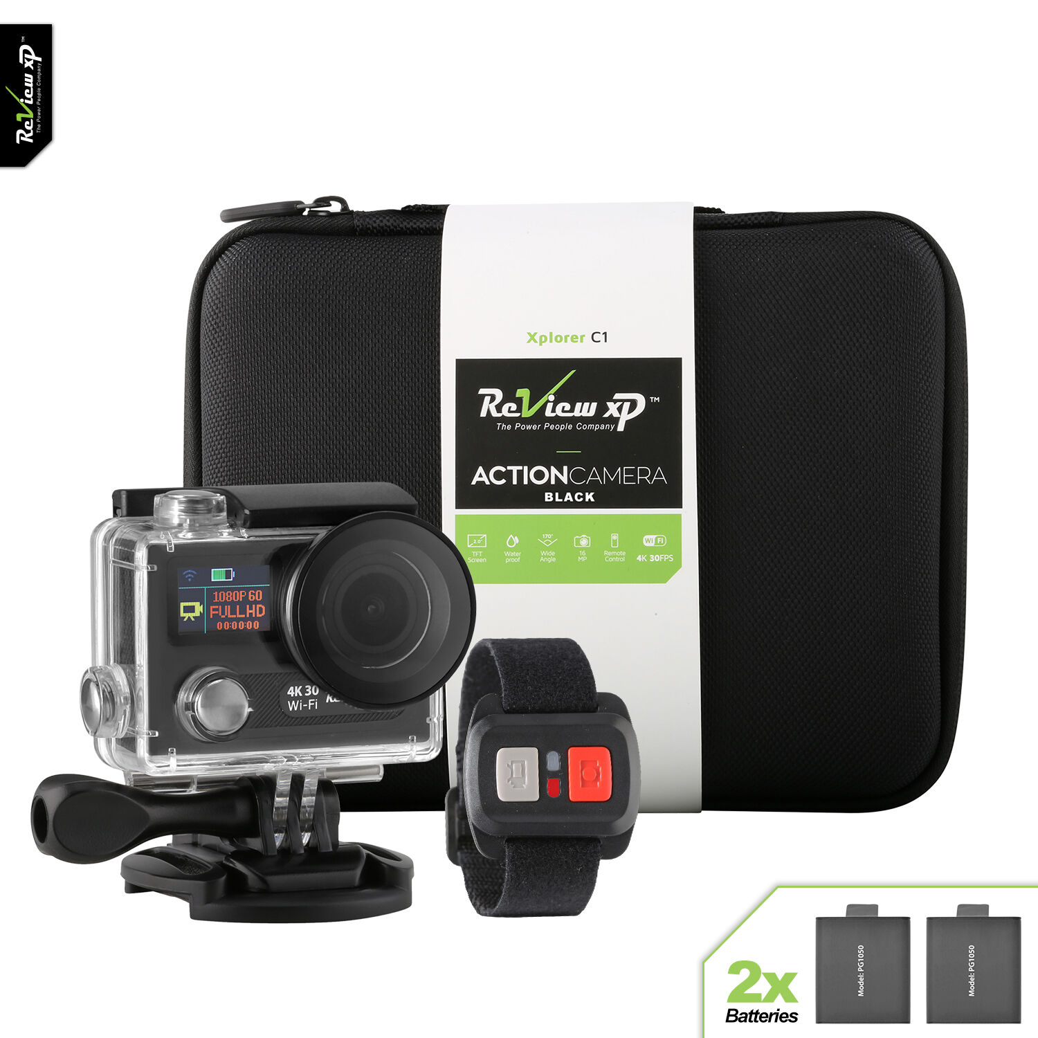 Review XP® 4K WiFi Underwater Waterproof Sports Action Camera 30fps +2 Batteries Featured