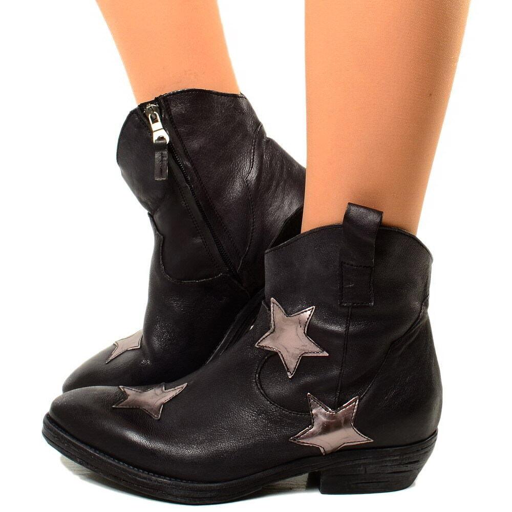 Señora botas de vaquero Western botas cuero cuero cuero genuino botines zapatos estrellas oro 1001  nuevo listado