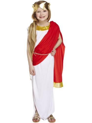 Girls Greek Goddess Costume Roman Toga Red Cape Book Week Child Fancy Dress