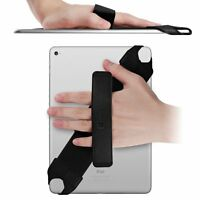 Universal Tablet Hand Strap Holder W Elastic Belt Swivel Pu Leather Handle Grip