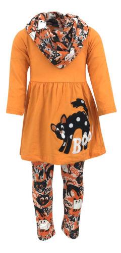 Girls Halloween Black Cat Legging Set Boutique Toddler Kid Clothes Costume 2t 3t