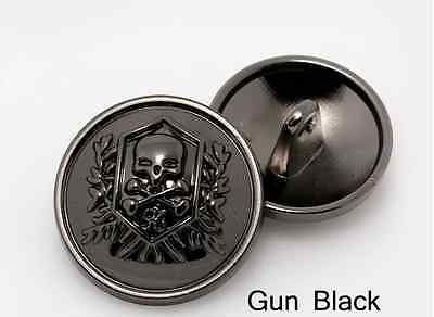 10pcs High-grade Skull Head metal coat buttons fashion Gun Black coat  buttons   eBay