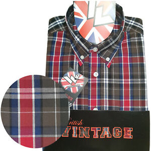 Warrior-UK-England-Button-Down-Shirt-BUSTER-Hemd-Slim-Fit-Skinhead-Mod