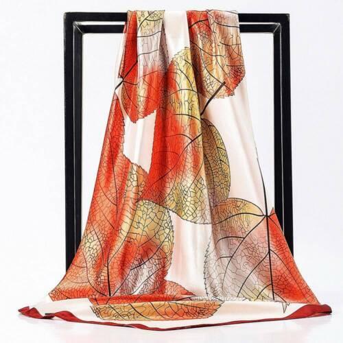 Ladies Chic Floral Square Head Neck Scarf Wrap Satin Silk 90cm Vintage Shawl