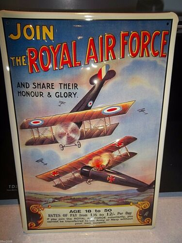 JOIN THE RAF: EMBOSSED STEEL/METAL ADVERTISING SIGN 12X 8 30x20cm DOGFIGHT