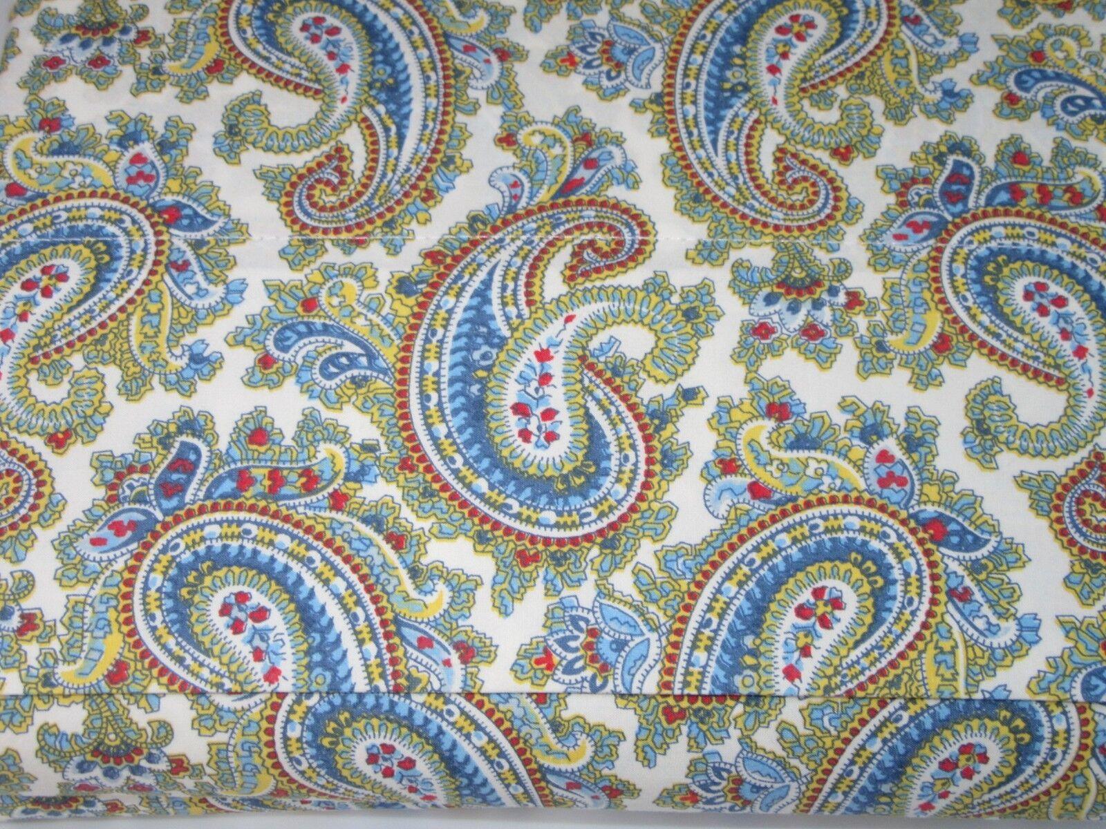 Ralph Lauren 100% Cotton QUEEN Flat Sheet Floral Paisley Blau rot Gelb NWOP
