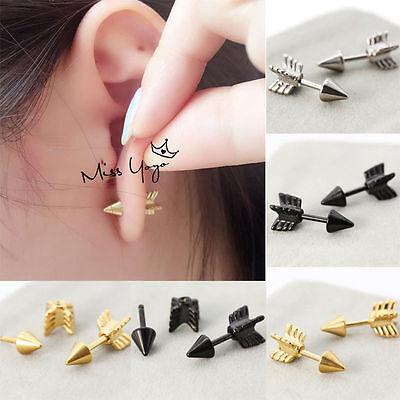 2Pc Punk Rock Men's Women Stainless Steel Arrows Stud Earrings Eardrop Jewelry