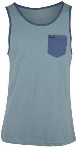 Rvca CHANGE UP Stormy Blue Navy Contrast Pocket Sleeveless Men/'s Tank Top