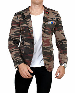 Herren-Casual-Sakko-camouflage-Regular-Fit-Einknopf-Jackett-Jacke-Freizeit-Club