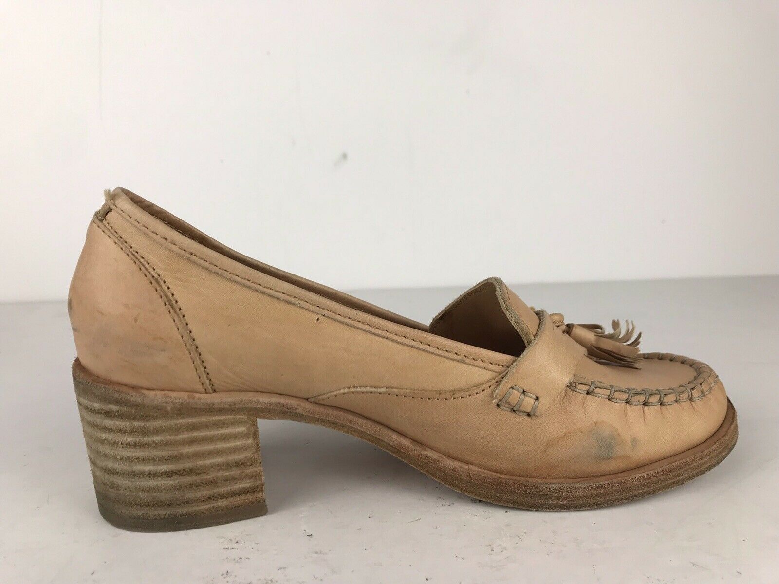 Swedish Hasbeens Tan Tassel Leather Penny Heel Loafer Casual Casual Casual schuhe Sz 37 7 Sweden 894dce