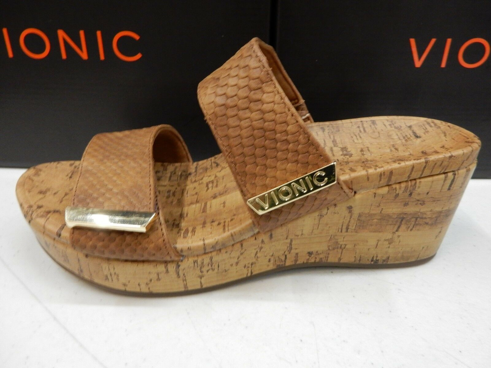 VIONIC Donna PEPPER WEDGE TAN SNAKE SIZE 8