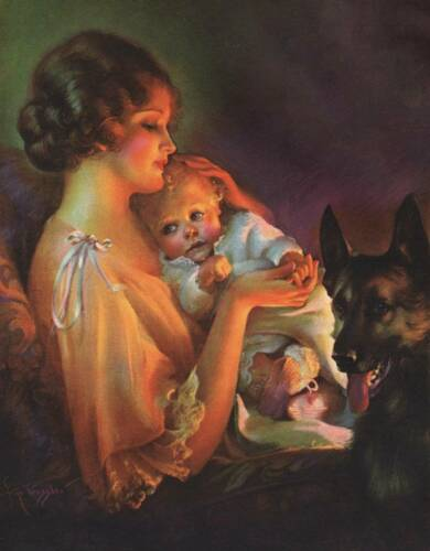Mother Baby German Shepherd Dog repo of vintage art