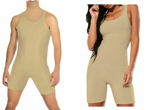WTV Men /& Women Sleeveless Solid Wrestling Singlet Tight Vest Unitards Bodysuit