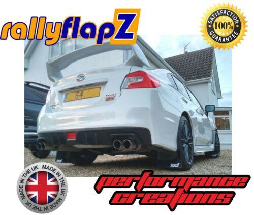 rallyflapZ 4mm PVC Black STi Style White sm Mudflaps SUBARU IMPREZA Sedan 10-14